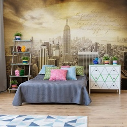 City New York Vintage Sepia Photo Wallpaper Wall Mural