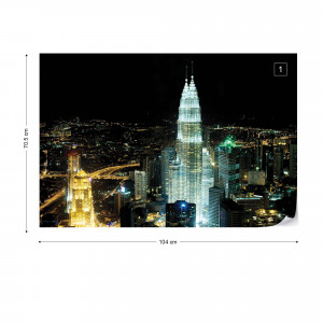 City Skyline Lights Photo Wallpaper Wall Mural