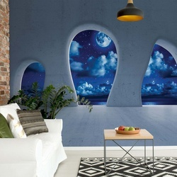 Dreamy Night Sky 3D Concrete Arches View Photo Wallpaper Wall Mural