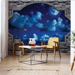 Dreamy Night Sky Stone Window View Photo Wallpaper Wall Mural