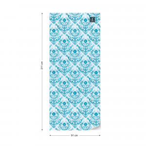 Floral Pattern Blue Photo Wallpaper Wall Mural