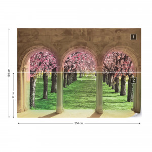 Flowering Trees Cherry Blossom View Through Stone Arches Photo Wallpaper Wall Mural