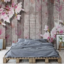 Flowers Vintage Script Rustic Wood Planks Photo Wallpaper Wall Mural
