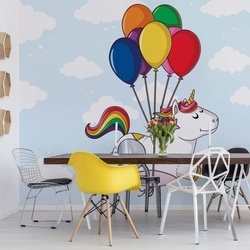 Flying Unicorn With Balloons Photo Wallpaper Wall Mural