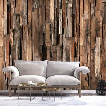 Fototapet autoadeziv - Wooden Curtain (Brown)