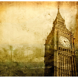 Fototapet - Big Ben - old photo of London
