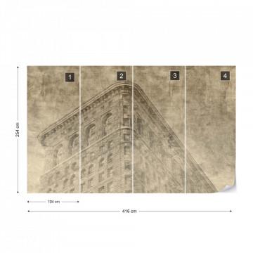 Fototapet - Clădire din New York – Efect Grafic Sepia