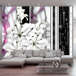 Fototapet - Crying lilies on purple marble