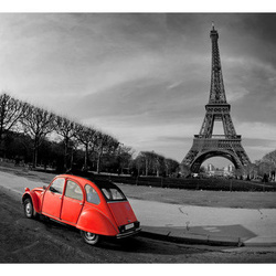 Fototapet - Eiffel Tower and red car