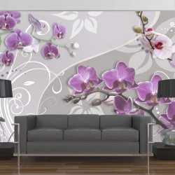Fototapet - Flight of purple orchids