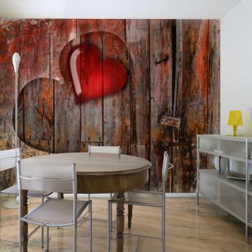 Fototapet - Heart on wooden background