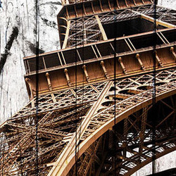 Fototapet pentru ușă - Photo wallpaper - Eiffel Tower on wood I
