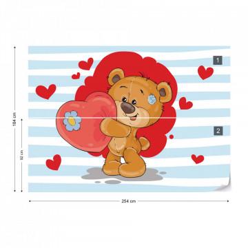 Fototapet - Ursulețul Bradley – Inimioare Roșii
