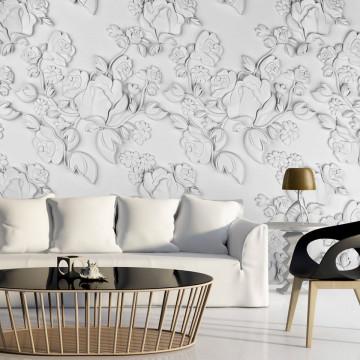 Fototapet - White ornament: roses