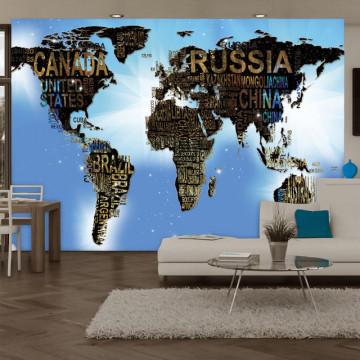Fototapet - World Map - Blue Inspiration