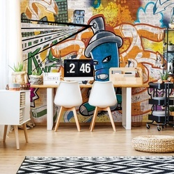 Graffiti Street Art Blue Photo Wallpaper Wall Mural