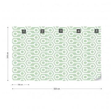 Green Geometric Retro Pattern Photo Wallpaper Wall Mural