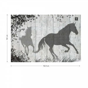 Horse And Nature Silhouette Concrete Texture Grey Photo Wallpaper Wall Mural