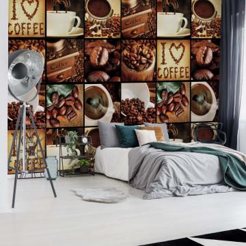 I Love Coffee Coffee Squares Photo Wallpaper Wall Mural