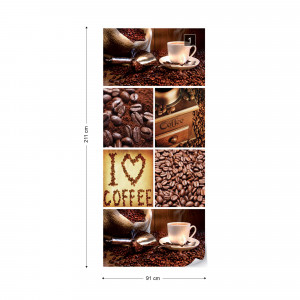 I Love Coffee Squares Photo Wallpaper Wall Mural