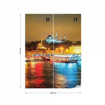 Istanbul Turkey River Reflections At Night Photo Wallpaper Wall Mural