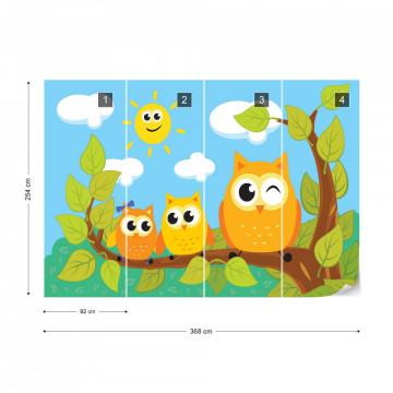 Kid'S Cartoon Owls In Tree Photo Wallpaper Wall Mural