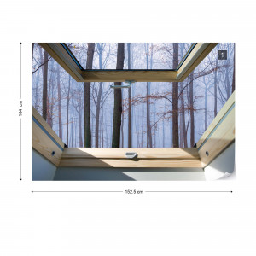 Misty Forest 3D Skylight Window View Photo Wallpaper Wall Mural