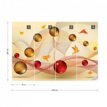 Modern 3D Abstract Design Yellow Red Photo Wallpaper Wall Mural