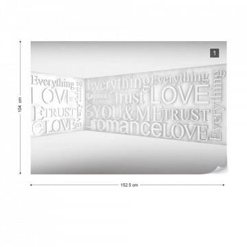 Modern 3D Romantic Words Photo Wallpaper Wall Mural