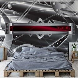 Modern 3D Silver And Red Design Photo Wallpaper Wall Mural