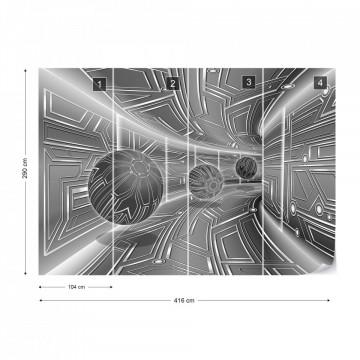 Modern 3D Tech Tunnel Grey Photo Wallpaper Wall Mural