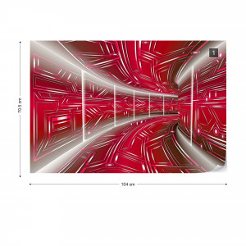Modern 3D Tech Tunnel Red Photo Wallpaper Wall Mural