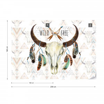 "Modern Ethnic ""Wild And Free"" Animal Skull Photo Wallpaper Wall Mural"