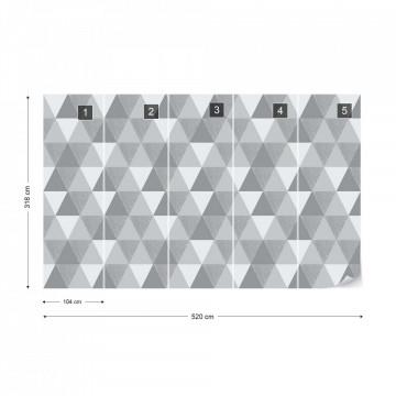 Modern Geometric Grey Triangle Pattern Photo Wallpaper Wall Mural