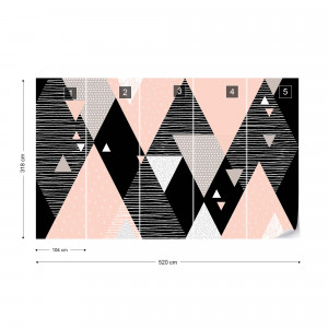 Modern Geometric Triangles Pink And Black Design Photo Wallpaper Wall Mural