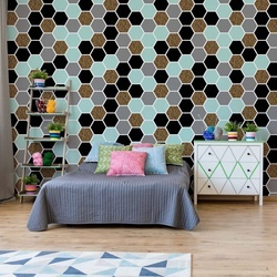 Modern Hexagonal Pattern Photo Wallpaper Wall Mural