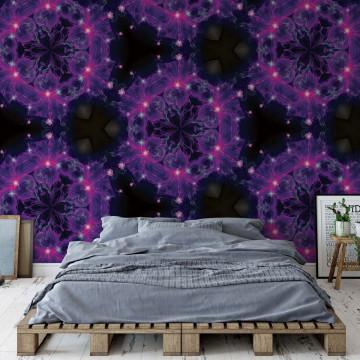 Modern Kaleidoscope Design Purple Light Photo Wallpaper Wall Mural