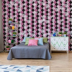Modern Purple Diamond Pattern Photo Wallpaper Wall Mural