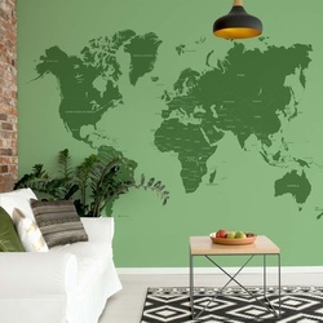 Modern World Map Sepia