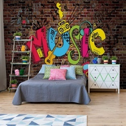 Music Graffiti Brick Wall Photo Wallpaper Wall Mural