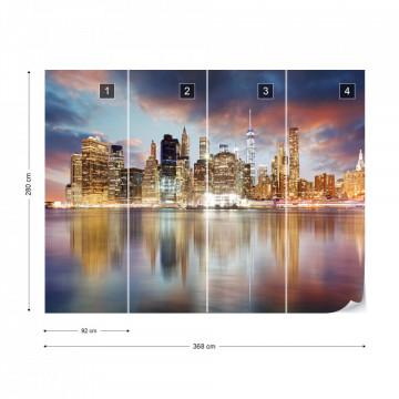 New York City Night Skyline Water Reflections Photo Wallpaper Wall Mural