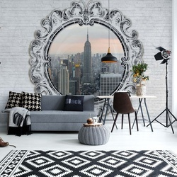 New York City Skyline Ornamental Circular Window Photo Wallpaper Wall Mural