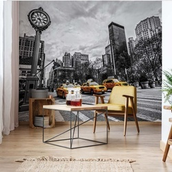 New York City Yellow Cabs Black And White Photo Wallpaper Wall Mural