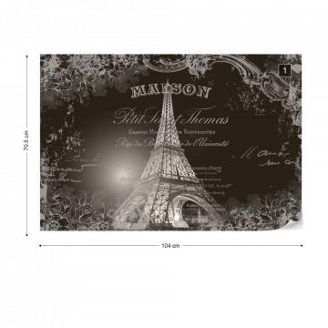 Paris Eiffel Tower Vintage Script Black And White Photo Wallpaper Wall Mural