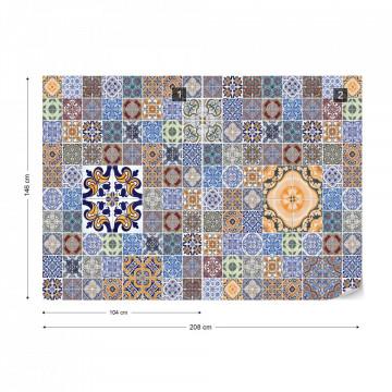Pattern Vintage Tiles Blue Photo Wallpaper Wall Mural