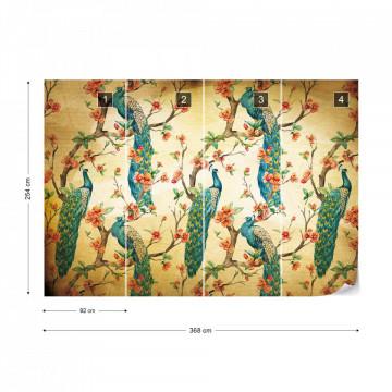 Peacocks Vintage Pattern Sepia Photo Wallpaper Wall Mural