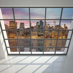 Penthouse Window New York River Reflections View