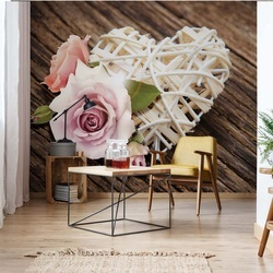 Pink Rose Heart Rustic Photo Wallpaper Wall Mural