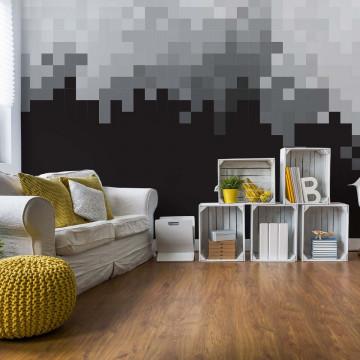 Pixel Pattern Black And Grey Photo Wallpaper Wall Mural