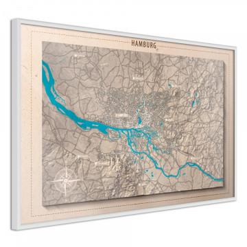 Poster - Raised Relief Map: Hamburg